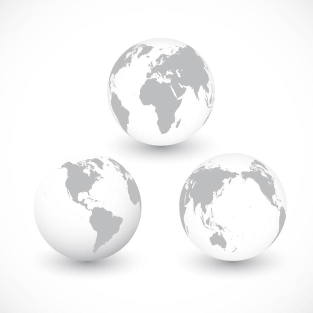 Набор серых глобусов мира иллюстрации. Premium векторы