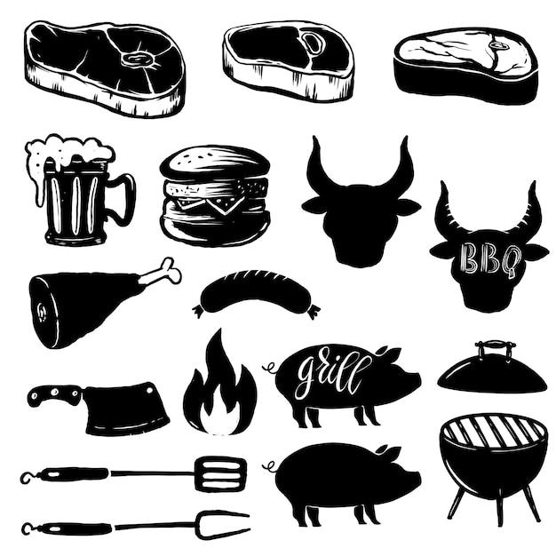 Набор элементов гриля. стейк, гриль, бургер, пивная кружка, мясо. элемент дизайна для логотипа, этикетки, эмблемы, знака. иллюстрация Premium векторы