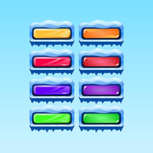 Набор значков кнопки зимнего рождества gui для элементов игрового интерфейса Premium векторы