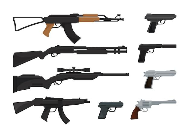 白で隔離銃のセット Premiumベクター