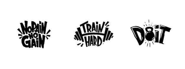 체육관 운동 그래픽, 로고 세트 프리미엄 벡터