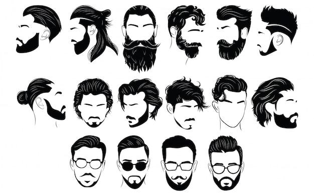Набор причесок для мужчин. коллекция черных силуэтов причесок и бороды. Premium векторы
