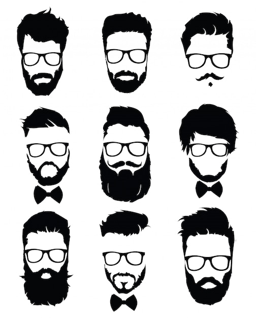 メガネの男性のためのヘアスタイルのセット。髪型とひげの黒いシルエットのコレクション。 Premiumベクター