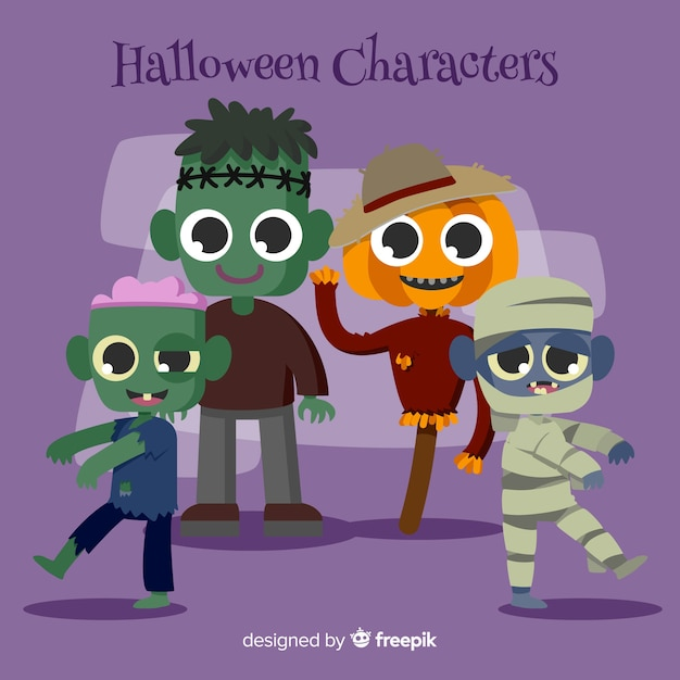 Set of halloween characters in cartoon style Free Vector