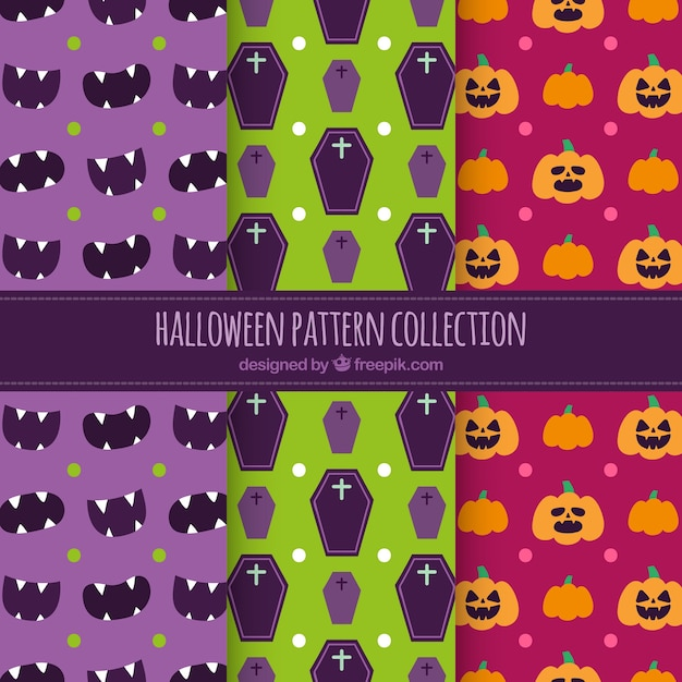 Set of halloween colored patterns