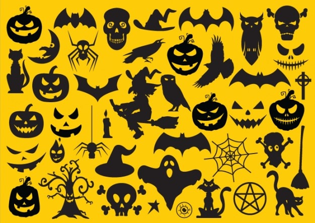 set of halloween elements free vector - Show Me Halloween Pictures