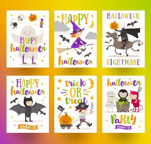 ハロウィーンの休日ポスターまたはグリーティングカードの漫画のキャラクターとタイプデザインのセットです。図。 Premiumベクター