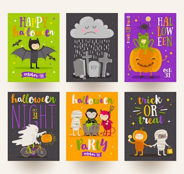 할로윈 포스터 또는 만화 캐릭터, 휴일 기호, 기호 및 유형 디자인 인사말 카드의 집합입니다. 삽화. 프리미엄 벡터