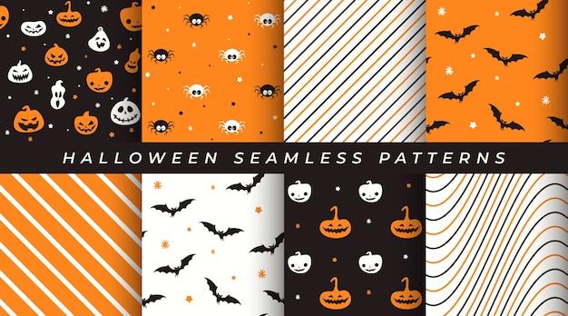 Набор бесшовных узоров хэллоуина с тыквой, летучей мышью, пауком, геометрическими узорами Premium векторы