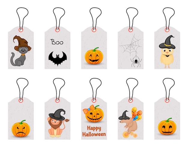 Набор тегов хэллоуин для праздничных товаров на белом фоне. мультяшный стиль , Premium векторы