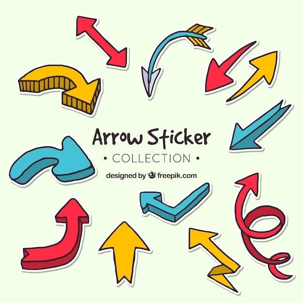 Set of hand drawn arrow stickers