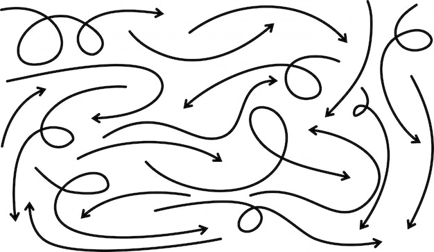 Набор рисованной стрелы. элементы дизайна каракули. Premium векторы