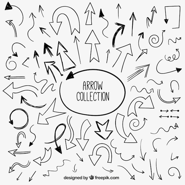 set of hand drawn arrows vector free download