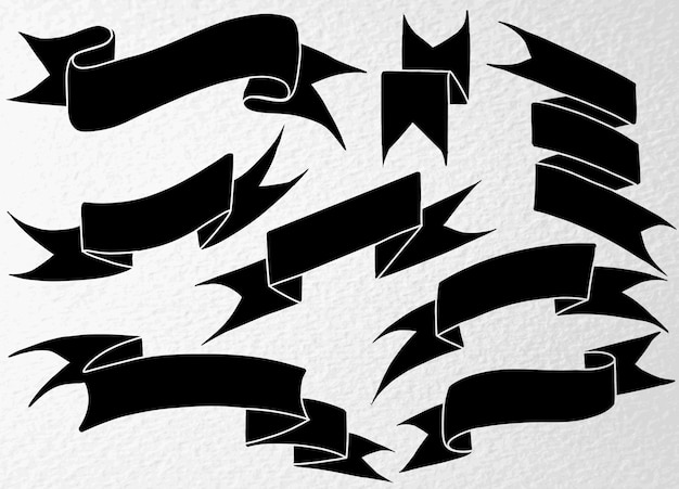 손으로 그린 블랙 리본 세트 프리미엄 벡터