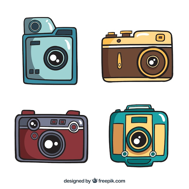 Set of hand drawn cameras