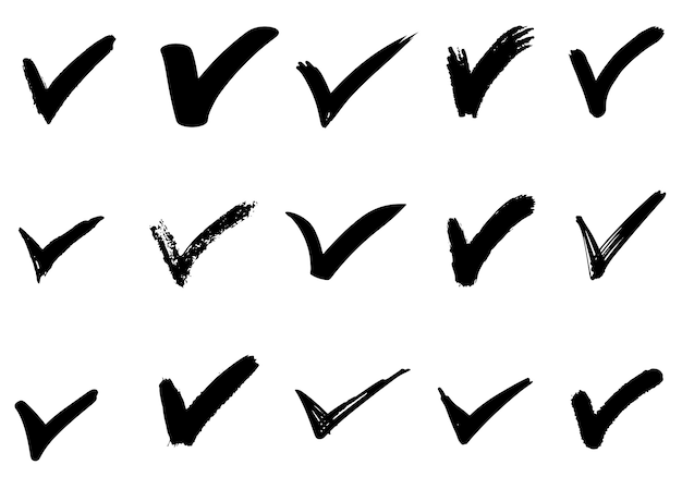 손으로 그린 체크 (v) 표지판 절연의 집합입니다. 검사 목록 표시 아이콘을 설정합니다. 스케치 확인 표시. 프리미엄 벡터