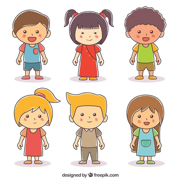Set of hand drawn children  Free Vector