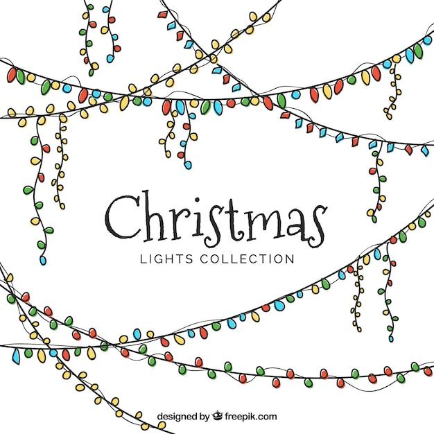Set Of Hand-drawn Christmas Lights Vector