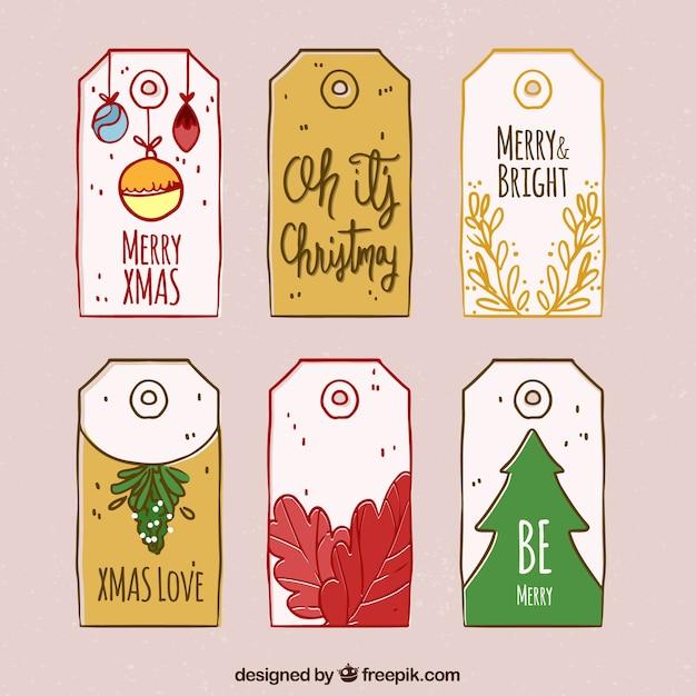 Set of hand drawn christmas tags