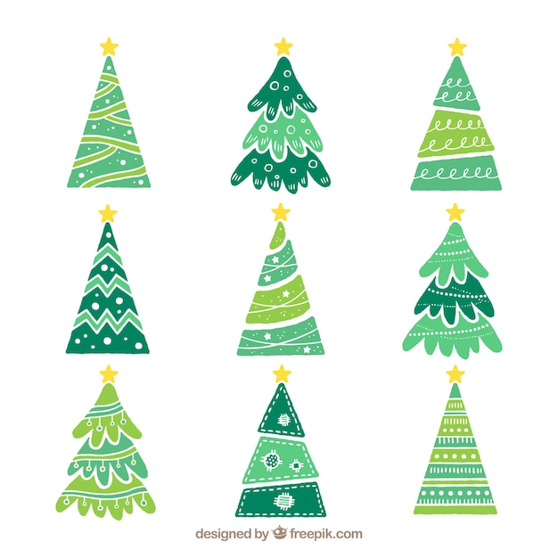 set of hand drawn christmas trees free vector