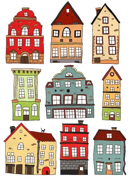 手描きの色の建物のセット 無料ベクター