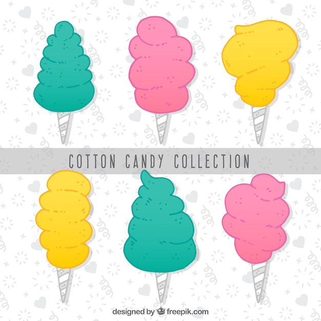Set of hand drawn colored cotton candy