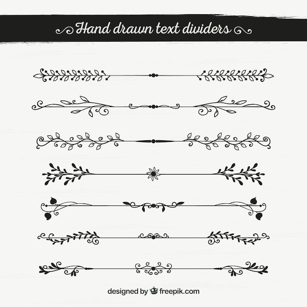 Set of hand drawn decorative borders