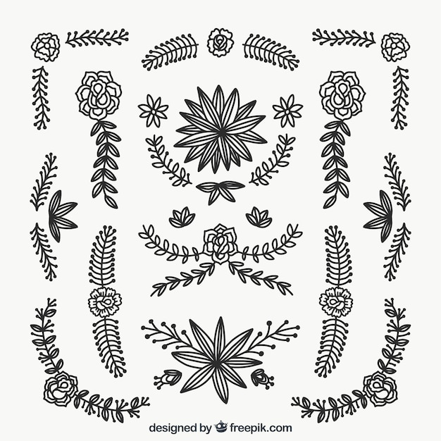 Set of hand drawn decorative flowers and leaves