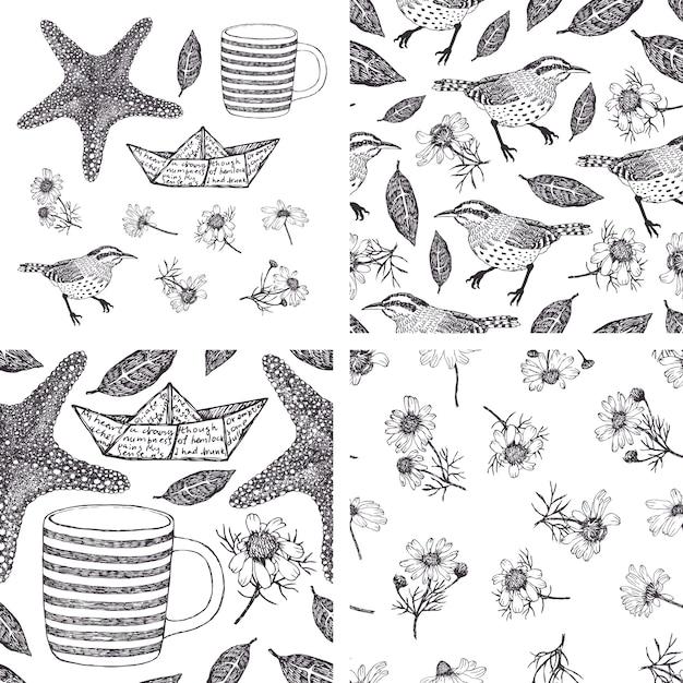 Набор рисованных элементов дизайна и узоров с ромашками, птицами и морскими звездами Бесплатные векторы