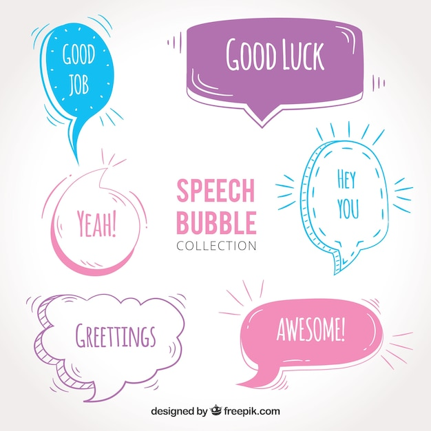 Set of hand drawn dialog balloons with messages Free Vector