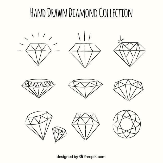 手描きのダイヤモンドのセット 無料ベクター