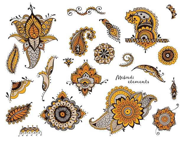 Набор рисованной различных элементов менди. стилизованные цветы, цветочные, листья, индийская коллекция пейсли. красочные этнические иллюстрации. Premium векторы
