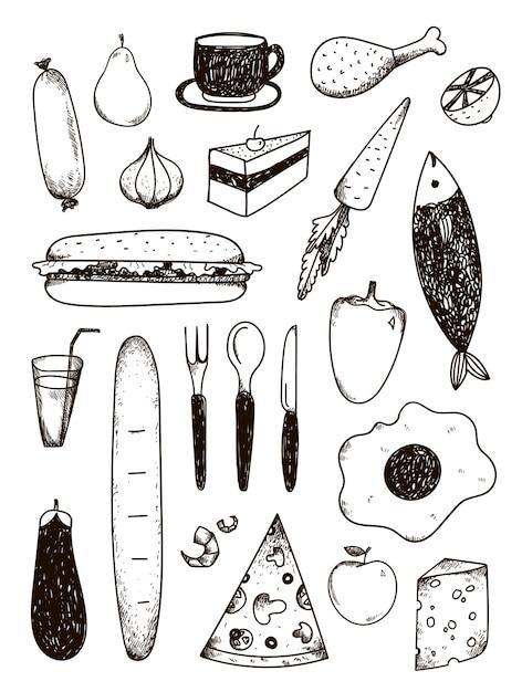 Набор рисованной каракули, черно-белая еда Premium векторы