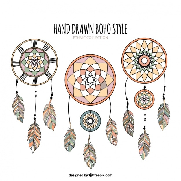 Set of hand-drawn dreamcatchers Free Vector