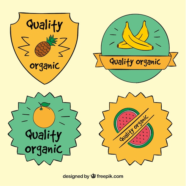 Set of hand-drawn ecological fruit\ stickers