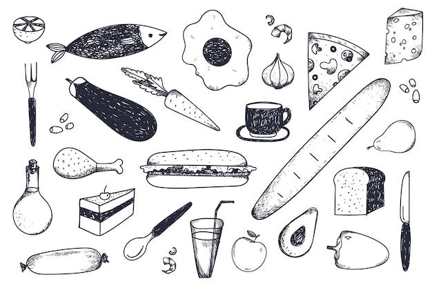 Набор рисованной еды. Premium векторы