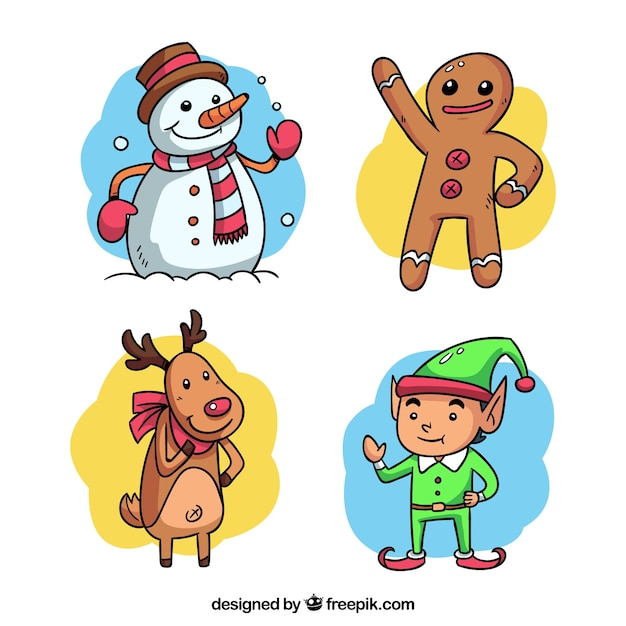 Set of hand drawn funny christmas characters