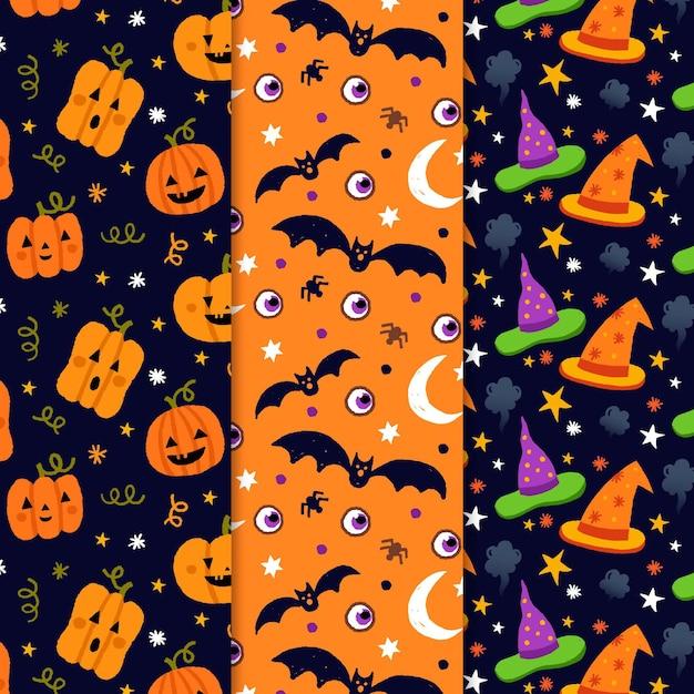 Набор рисованной узоров хэллоуина Бесплатные векторы
