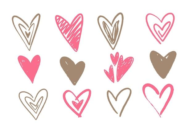 Набор рисованной сердец Бесплатные векторы