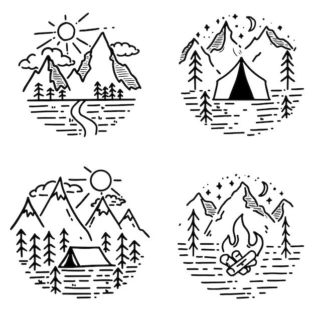 手描きのハイキングと観光のエンブレムのセットです。ロゴ、ポスター、カード、エンブレム、印刷の要素。画像 Premiumベクター
