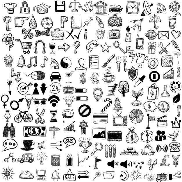 Set of hand drawn icons Free Vector