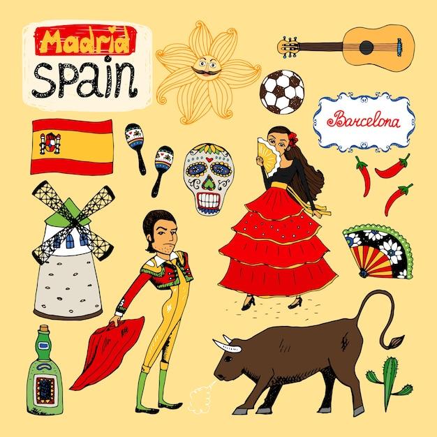 Набор нарисованных от руки достопримечательностей и символов испании Бесплатные векторы