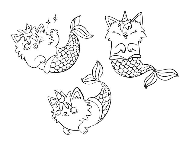 Набор рисованной меркатикорн, милый мультяшный кот-русалка с рогом единорога в разных позах. Бесплатные векторы