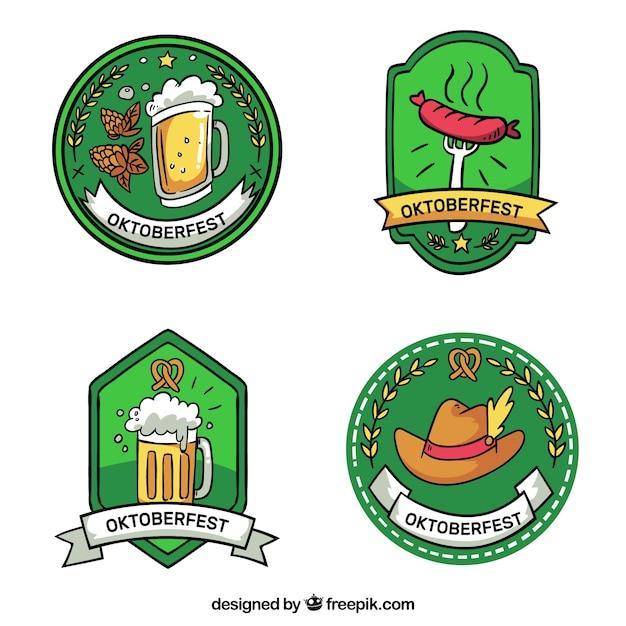 Set of hand drawn oktoberfest badges