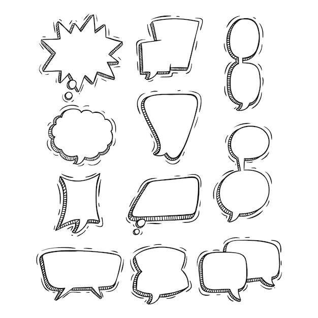 Набор рисованной или каракули стиль речи пузыри Premium векторы