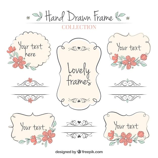 Set of hand drawn ornamental frames  Free Vector