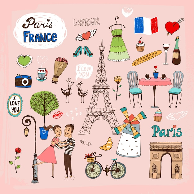手描きのパリフランスのランドマークとアイコンのセット 無料ベクター