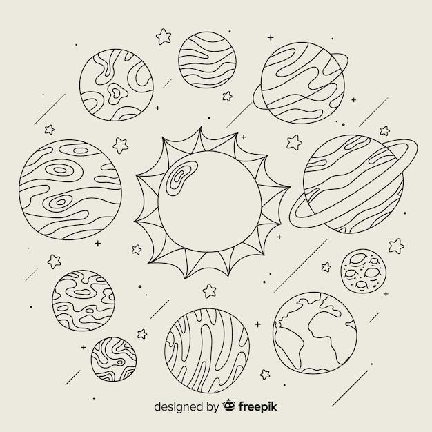 Набор рисованной планеты в стиле каракули Бесплатные векторы