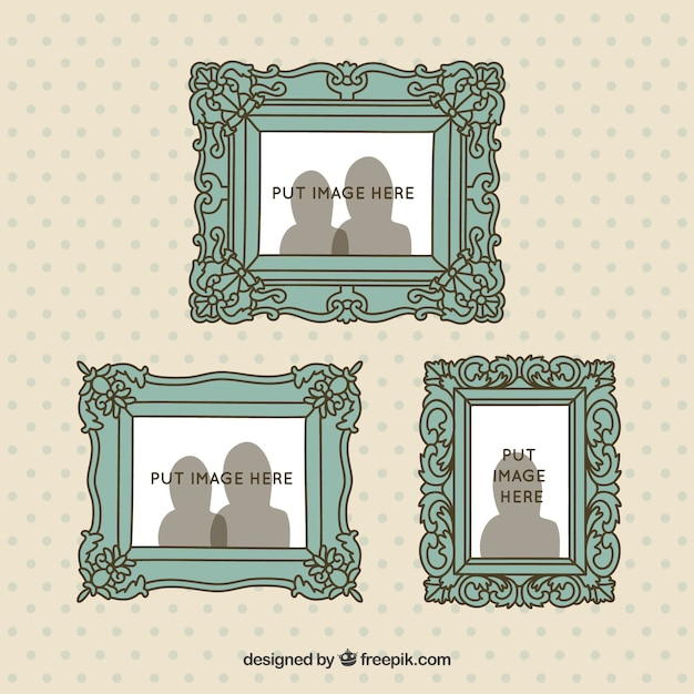Set of hand drawn retro frames on the wall Vector | Free Download