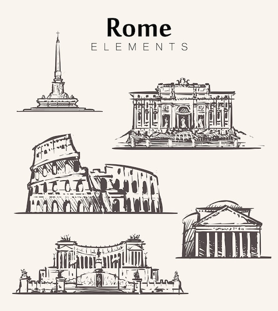 Набор рисованной зданий рима. римские элементы эскиза иллюстрации. колизей, пантеон, витториано, фонтан треви. Premium векторы